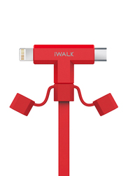 Iwalk 1-Meter 2-in-1 Premium Charging Data Cable, USB 2.0 Type-A Male to Micro-B USB/Lightning, MFi Certified for Smartphones/Tablets, Red