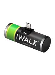 Iwalk 2000mAh Micro Power Bank, with Micro-USB Input, Black
