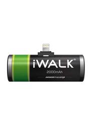 Iwalk 2000mAh Immortalizer 2000L Lightning Power Bank with Lightning Input, Black/Green