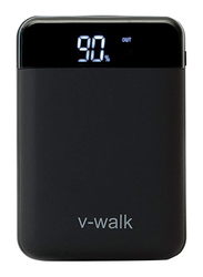 V-Walk 10000mAh Lithium-Polymer Digital Display High Density Power Bank, with Micro-USB/USB-C Input, with Rubber Coating and Micro-USB Cable, HT-B10D, Black