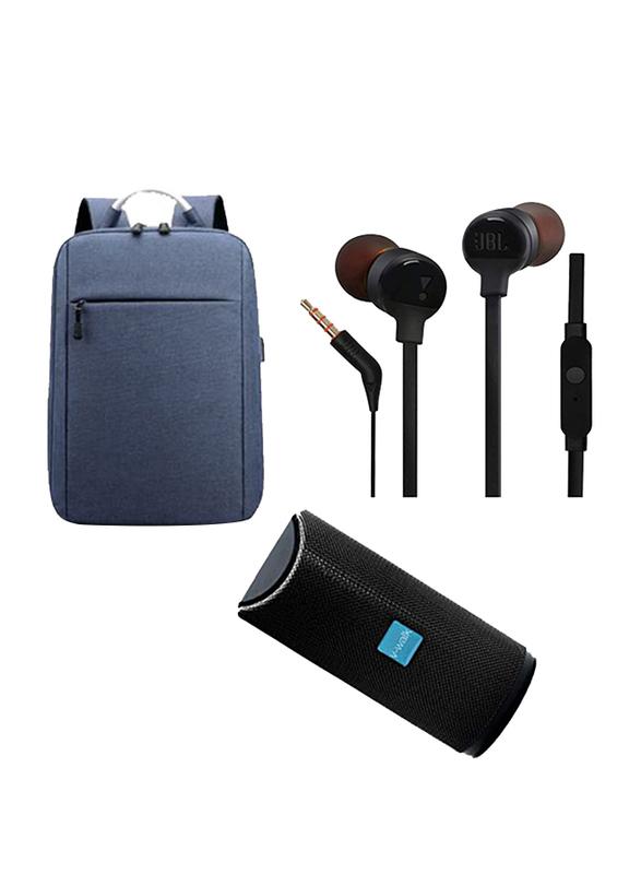 V-Walk Anti-Theft Backpack Laptop Bag with USB Charging Port/Bluetooth Speaker and JBL Tune 110 Earphones(9.1mm Driver), Black/Blue
