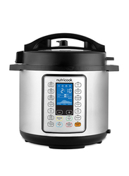 Nutri Cook Prime 6L Smart Pot Electric Stainless Steel Rice Cooker, 1000W, NC-SPPR6, Silver/Black