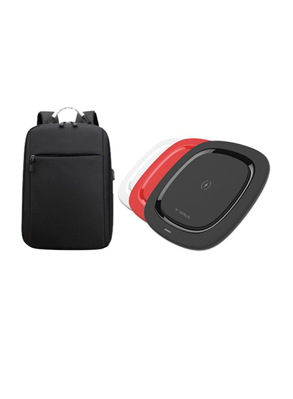 V-Walk Anti-Theft Backpack Laptop Bag with USB Charging Port and WQ5 Wireless Charging Pad 5W, Black