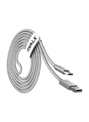 Iwalk 2-Meter Premium Micro-B USB Cable, Fast Charging USB Type A Male to Micro-B USB for Micro-B USB Devices, Silver