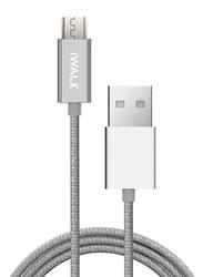 Iwalk 2-Meter High Tech Micro-B USB Cable, USB Type A Male to Micro-B USB for Micro-B USB Devices, Silver