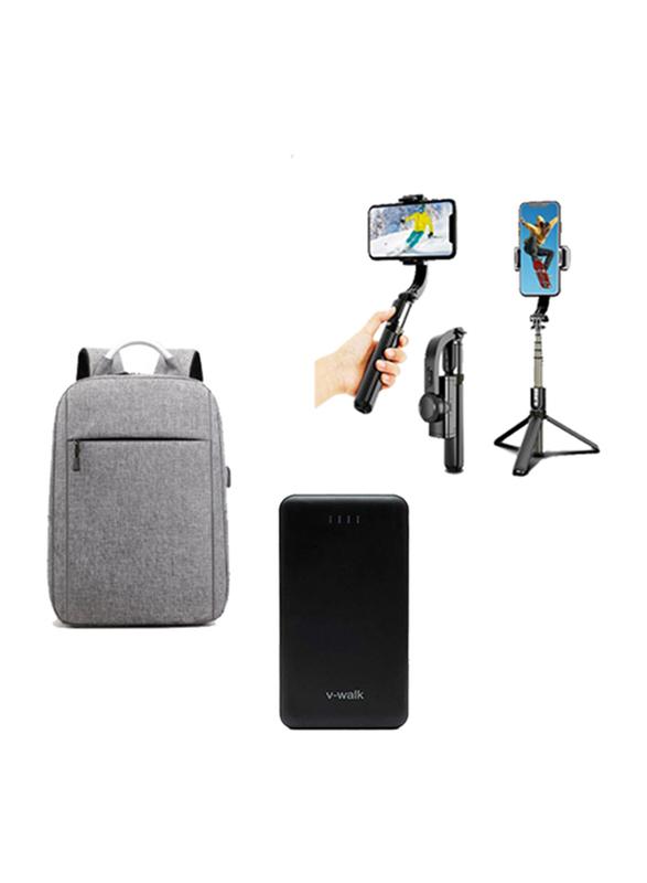 V-Walk Anti-Theft Backpack Laptop Bag with USB Charging Port/HT-A10 10000mAH Power Bank/Gimbal L08 Handheld Wireless Selfie Stick, Black/Grey