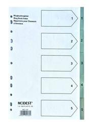 Modest PVC 1-5 Grey with Number Divider File Folder, White