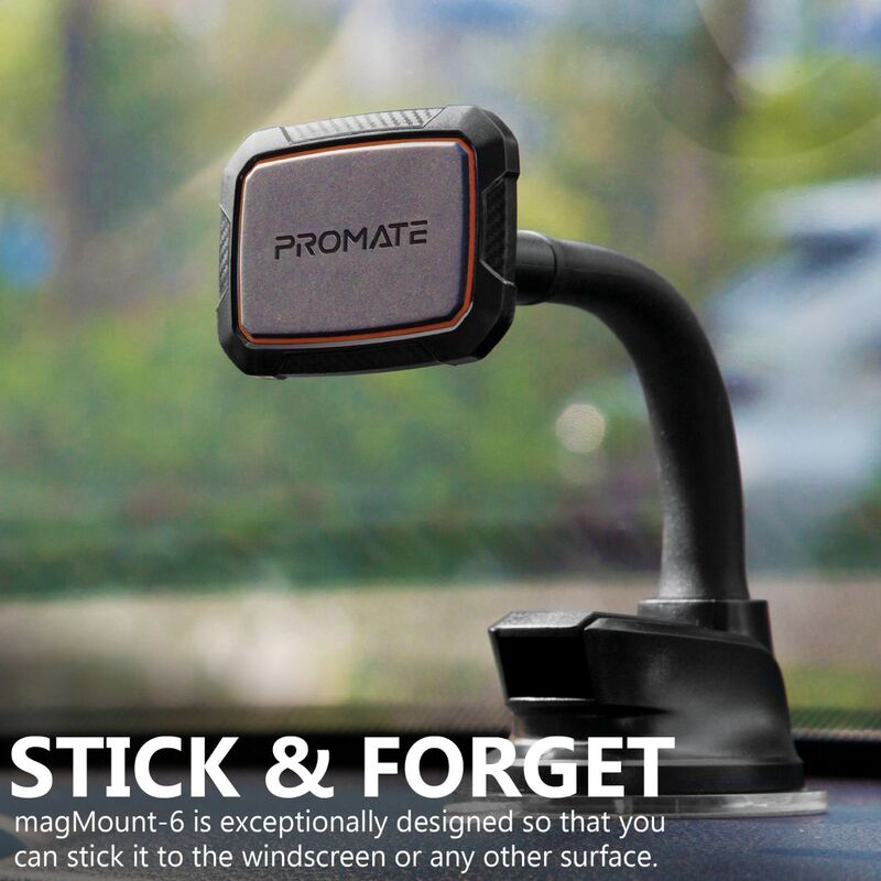 Promate MagMount Magnetic Car Mount Holder, Universal 360 Rotation Windshield or Dashboard Suction Cup Phone holder with 6 Strong Magnetic, Flexible Gooseneck and Anti-Slip Grip, Maroon
