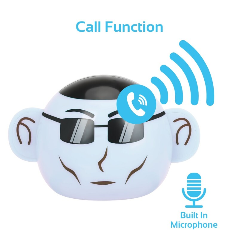 Promate Ape Bluetooth Speaker, Portable Monkey Shape Multifunction Wireless with 3.5mm Audio Jack and Thumbs-up Adjustable Flexible Smartphone Holder, White