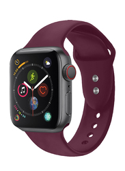 Promate Oryx-42SM Silicone Wrist Strap for Apple Watch 42mm/44mm Series 1/2/3/4, Small/Medium Size, Durable Sweatproof Strap with Secure Double Lock Pin and Adjustable Soft Band, Maroon