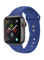 Promate Oryx-38ML Silicone Sport Strap for Apple Watch 38mm/40mm Series 1/2/3/4, Medium/Large Size, Premium Adjustable Strap with Sweatproof and Dual Lock Pin, Workout, Fitness, Blue