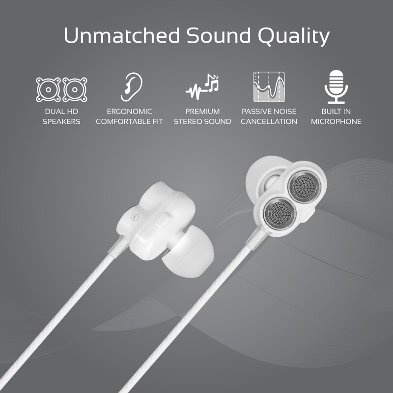 Promate Ivory In-Ear Earphones, Premium Dual-Driver Stereo Earbuds with Dual Dynamic Sound, Built-In Microphone, Anti Tangle Cords and Noise Isolation, Black