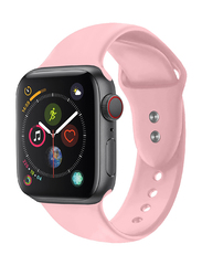 Promate Oryx-38ML Silicone Sport Strap for Apple Watch 38mm/40mm Series 1/2/3/4, Medium/Large Size, Premium Adjustable Strap with Sweatproof and Dual Lock Pin, Workout, Fitness, Light Pink