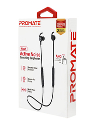 Promate Hush Wireless Bluetooth Noise Cancelling Music Neckband Headphone with IPX 4 Water Resistant, Built-In Mic and Multi-Point Paring for Workout, Running, Smartphones and iPod, Black