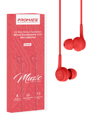 Promate Duet 3.5mm Jack In-Ear Hi-Res Noise Isolating Earphones with Built-in Mic, Red