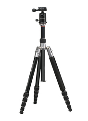 Promate Precise-160 Professional Aluminium 160cm Travel Tripod for Canon/Nikon/DSLR/Smartphones, Integrated Monopod and 5 Section, Dual Bubble Level, 360 Degree Head, Black