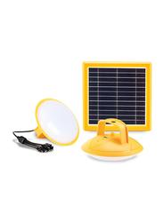 Promate SolarLamp-2 Solar Light, 3W Solar Panel Powered 2 LED Light Lamp, Built-In Rechargeable 2600 Power Bank, 200 Lumen Bright LED Light for Tent/Hiking/Fishing, Yellow