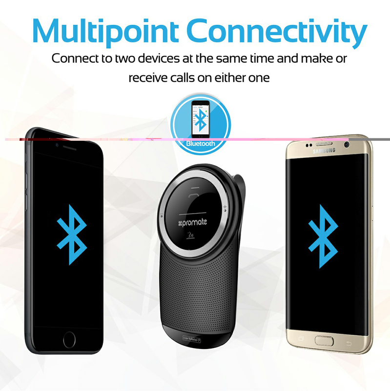 Promate CarMate-7 HandsFree Car Bluetooth Speaker, Black
