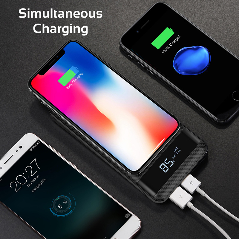 Promate 10000mAh AuraPack-10 Wireless Power Bank, Qi Wireless Charger with Lightning and Micro-USB Input, LED Display, Dual USB Output, 2-way Type-C Charging Port for USB Enables Devices, Black