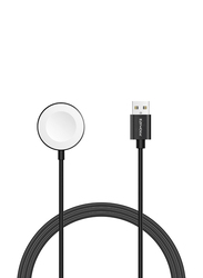 Promate AuraCord-A Wireless Charger, Apple MFi Certified, 5W Fast Charger to USB-A Connector Cable, 1-Meter Anti-Tangle Cord, Over-Charging Protection for Apple Watch Series 5/4/3/2/1, Black