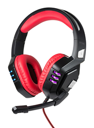 Promate Python Over-Ear Gaming Noise Cancelling Headset, Haptic Feedback with Unidirectional Mic, Soft Memory Earmuffs, Volume Control and LED Light, Red