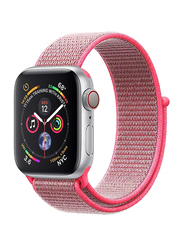 Promate Fibro-38 Sports Loop Band for Apple Watch 38mm/40mm Series 1/2/3/4, Premium Nylon Weave Mesh with Dense Loop and Adjustable Wrist Strap, Workout, Fitness, Running, Pink
