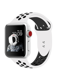 Promate Oreo-42ML Silicone Sport Band for Apple Watch 42mm/44mm Series 1/2/3/4, Medium/Large Size, Dual-Toned Perforated Silicone with Secure Dual Pin-Tuck Closure and Sweat-Resistant, White/Black