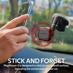Promate MagMount Magnetic Car Phone Mount, Universal Windshield Magnetic Suction Cup Mount with 6 Neodymium Magnets, Anti-Slip Grip and 360 Rotation View, Maroon