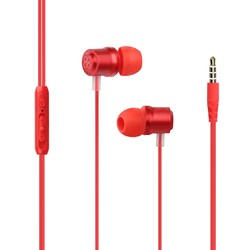 Promate Travi Wired Earphone, Premium Magnetic Stereo Earbuds with Microphone, Built-In Volume Control, 1.2m Tangle Free Wire and Noise Cancellation, Red