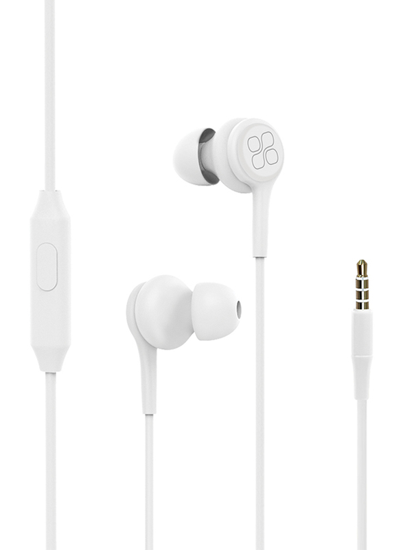 Promate Duet 3.5mm Jack In-Ear Hi-Res Noise Isolating Earphones with Built-in Mic, White