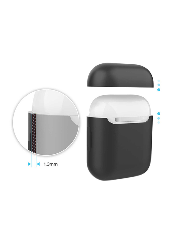 Promate AirCase Silicone Case for Apple AirPods/AirPods 2, Ultra-Lightweight Protective 360 Degree Cover with Scratch-Resistance and Wireless Charging, Black