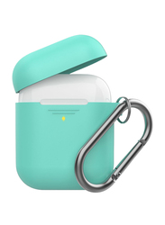 Promate GripCase Silicone Case for Apple AirPods/AirPods 2, Lightweight Anti-Slip Soft 360 Degree Protective Cover with Anti-Lost Carabiner Hook and Wireless Charging, Green