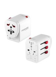 Promate TripMate-PD18 Type-C Charger, 18W 3 USB Port Travel Adapter, Power Adapter with Fuse, 2.4A 3 USB Port and Qualcomm QC3.0 t, AC Wall Outlet Adapter, for UK, EU, AU, US, Laptops, Tablets, Grey