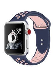 Promate Oreo-38ML Silicone Sport Band for Apple Watch 38mm/40mm Series 1/2/3/4, Medium/Large Size, Dual-Toned Soft Breathable Silicone with Dual Lock Pin and Sweat Resistant, Blue/Pink