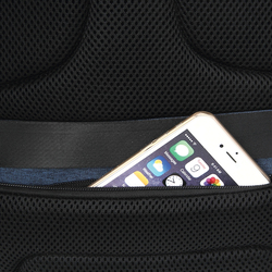 Promate Defender 16 inch Backpack Laptop Bag, Anti-Theft Business Travel, Water-Resistant, USB Charging Port, Adjustable Padded Shoulder, Hidden Secure Pocket and Password Lock, Blue