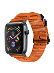 Promate Nylox-42 Nylon Sport Strap for Apple Watch 42mm/44mm Series 4/3/2/1, High-Quality Adjustable Woven Nylon Strap with Quick Release Matte Steel Buckle and Sweatproof, Orange