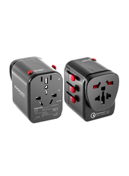 Promate TripMate-PD18 Type-C Charger, 18W 3 USB Port Travel Adapter, Power Adapter with Fuse, 2.4A 3 USB Port and Qualcomm QC3.0 t, AC Wall Outlet Adapter, for UK, EU, AU, US, Laptops, Tablets, Black