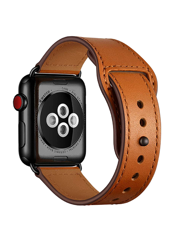 Promate Genio-38 Genuine Leather Strap for Apple Watch 38mm/40mm Series 4/3/2/1, Durable Cowhide Genuine Leather Band with Innovative Looping Pin-and-Tuck Secure Fit Closure, Light Brown