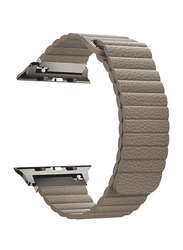 Promate Lavish-38 Leather Band for Apple Watch 38mm/40mm Series 1/2/3/4, Lightweight Stylish Leather Loop Wristband with Strong Magnetic Closure Strap, Beige