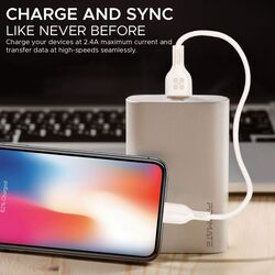 Promate 25cm PowerBeam-25i Short Lightning Cable, Durable Fast 3A USB Type-A Male to Lightning, Fast Charger/Sync, with Anti-Tangle Cable and Over-Charging Protection for Enabled Devices, White