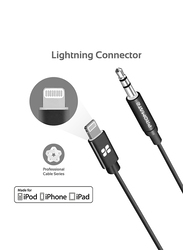 Promate 2-Meter AudioLink-LT2 Lightning AUX Cable, Lightning Male to 3.5mm AUX, Apple MFi Certified, Headphone Jack Adapter Stereo Audio, Digital Analog Converter for Bose/Marshall, Black