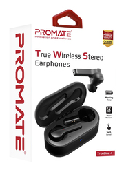 Promate TrueBlue 4 Wireless Bluetooth v5.0 In-Ear Noise Cancelling Music Earbuds with 300mAh Charging Case, Water Resistant and Built-In Mic, Black