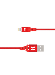 Promate 1.2-Meter NerveLink-I Lightning Cable, 2.4A USB A Male to Lightning, Apple MFi Certified Nylon Braided, Anti-Tangle Design, Short-Circuit Protection for Apple Devices, Red