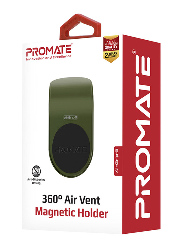 Promate AirGrip-3 Universal Air Vent Magnetic Holder with Quick Clip Mounting, Secure Vent Grip, Anti-Slip and 360 Degree Rotation, GPS, Green