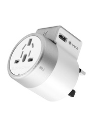 Promate Twist Travel Adapter Wall Charger with 2.4A 12W Dual USB Charging Port for UK/EU/AU/US/Smartphones/Laptops/Tablets, White