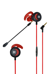 Promate Clink In-Ear Passive Noise Cancellation Gaming Earphones with 3.5 mm Jack and Detachable Dual Mic Volume Control, Red