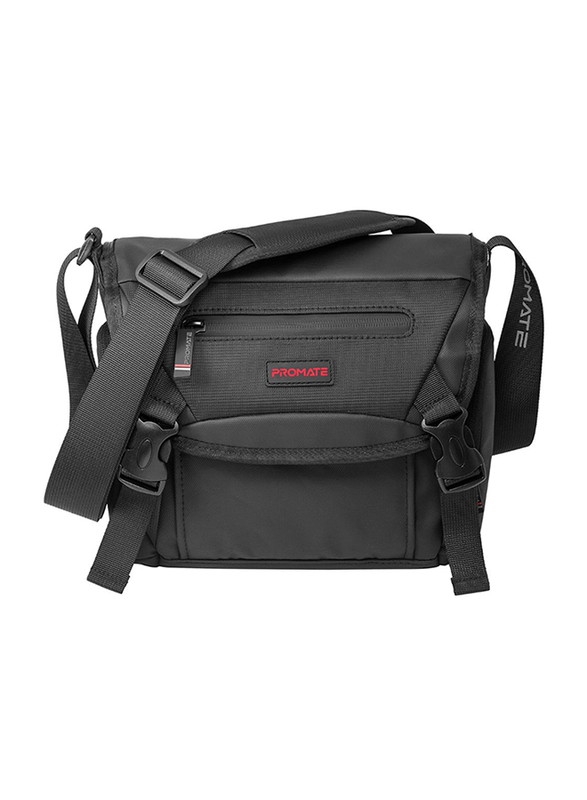 Promate Arco Small DSLR Shoulder Bag for Mirrorless DSLR/SLR/Lens/ Camcorders, with Shockproof, Adjustable Foam Padded Divider, Quick Access Pocket and Rain Cover, Black
