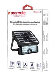 Promate Beacon-3 LED Solar Light, Wireless IP65 Water-Resistant Solar Spotlight Auto On/Off Wall Light, Dual Light Mode, 500 Lumen LED Light and PIR Motion Sensor for Patio/Deck/Yard/Garden, Black