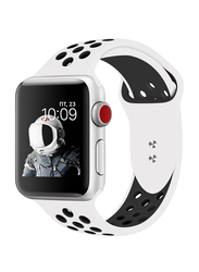 Promate Oreo-42SM Silicone Sport Band for Apple Watch 42mm/44mm Series 1/2/3/4, Small/Medium Size Dual-Toned Perforated Silicone with Secure Dual Pin-Tuck Closure and Sweat-Resistant, White/Black