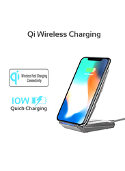 Promate Auradock-4 Qi Wireless Charger, 10W 2-In-1 Wireless Adaptive Fast Charging with Dual Coil, Multi-Angle Charging Stand, Anti-Slip Base and Over Current Protection for Mobile Phones, Black